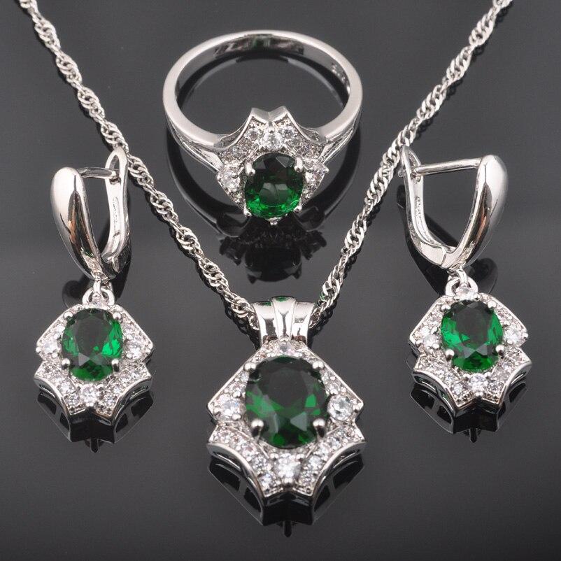 Zielsetzung Fahoyo Glänzende Grüne Zirkon Weiß Cz Frauen 925 Sterling Silber Schmuck Sets Ohrringe/anhänger/halskette/ringe Qz0484 Brautschmuck Sets