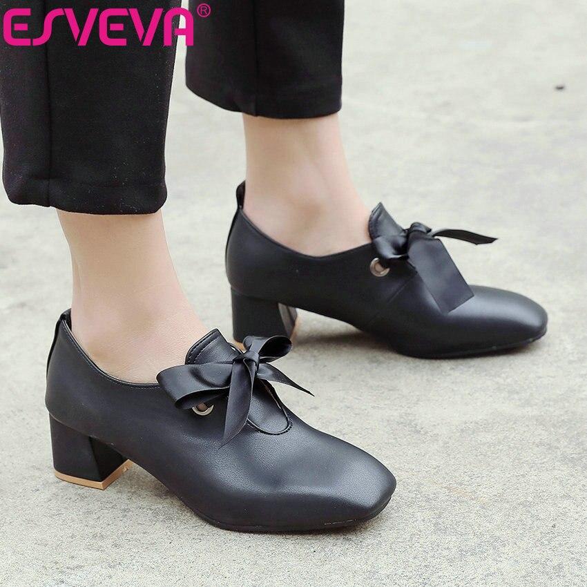 eac7ee125df Estilo Cuadrado 2019 De Universidad Pie 43 34 Med Tamaño Dedo Zapatos  Sandalias Superficial La Mujeres Cuadrados Bombas Tacones ...