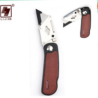 LIJIAN Heavy Duty Knife Stainless Steel Folding Knife Utility Knife With Red Coffee ABS Handle Multi