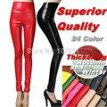 Outono inverno de alta Qualidade calças de senhora Moda feminina espessamento Elástica Calças de Couro PU leggings Com veludo do navio da gota