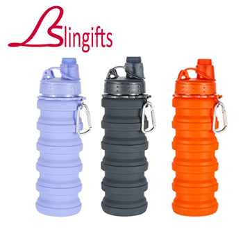 Slingifts Wholesale 10PCS 500ML Portable Foldable Water Bottle Outdoor Climbing Mug Collapsible Bottle Silicone With Lid 29475W