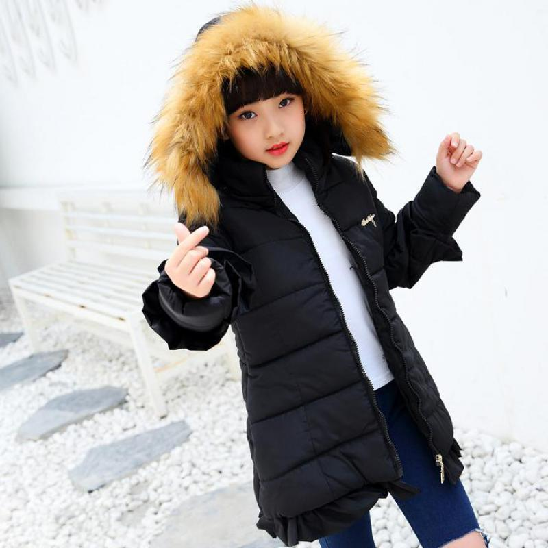 2017 Winter Children Clothing Kids Cotton Outerwear Girls Jacket Child Medium-long Thickening Cotton-padded Coat 10 11 12 13 14 children winter coats jacket baby boys warm outerwear thickening outdoors kids snow proof coat parkas cotton padded clothes