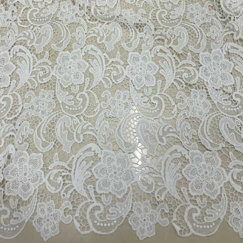 Heißer Verkauf Nigerianischen Spitzenstoffe 2017 Weiß Bestickte Spitzenbesatz African Französisch Tüll Net Spitze Stoff Für Hochzeitskleid 2 yards