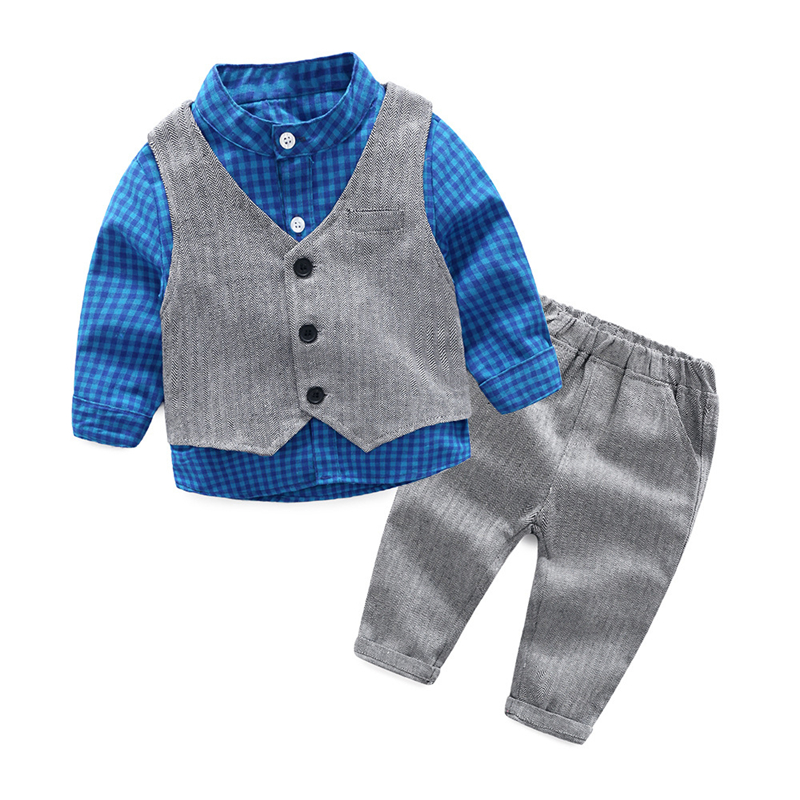 Fashion Baby Clothing Kids Clothes Baby Boy Suit Gentleman Fashion Wedding Formal Spring Autumn Plaid Shirt Vest Pant 3pcs Sets kids clothing set plaid shirt with grey vest gentleman baby clothes with bow and casual pants 3pcs set for newborn clothes