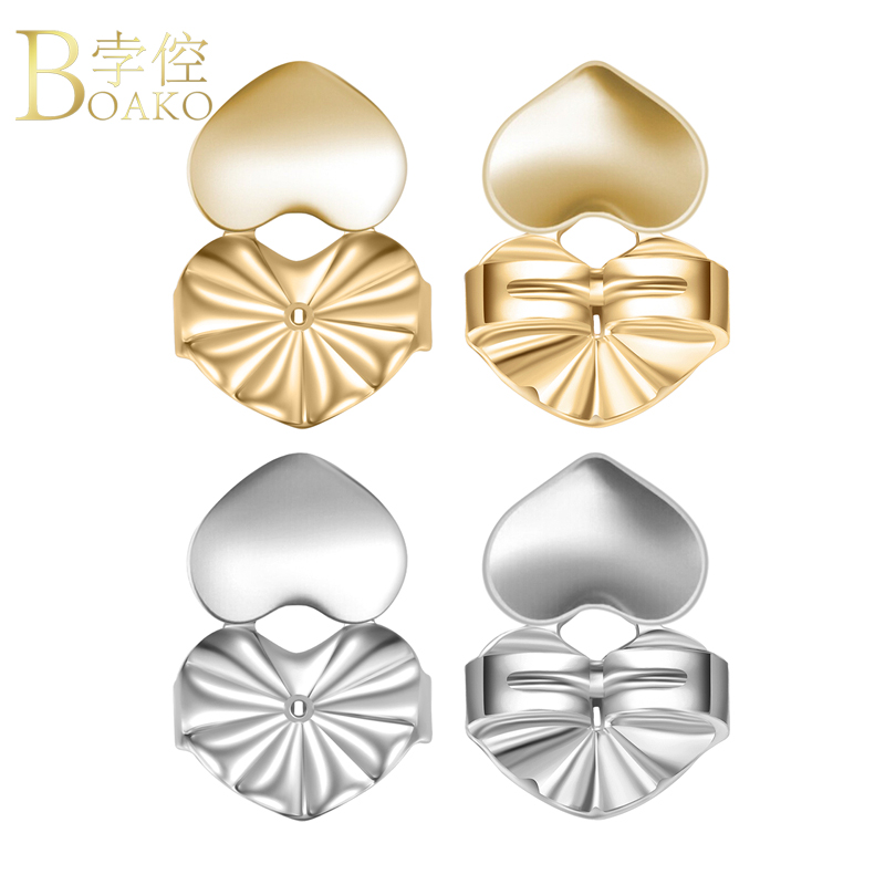 2018 New Earring Lifters Backs Supports Lifts Heart Shape Gold Silver Color for Stud Dangle Drop Earrings Jewelry Accessories Z4