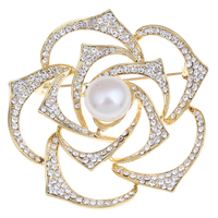 Natural Real Freshwater Pearl Brooch New Fashion Gold Color Rhinestone Flower Charm Scarf Buckle Jewelry Brooches