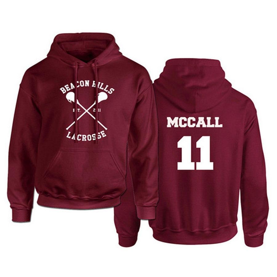 Teen Wolf Hoodie Men McCall 11 Lacrosse Stilinski 24 Lahey 14 Print Pullover Mens Hoddies Red Hood Sweatshirts Women Anime Hodie
