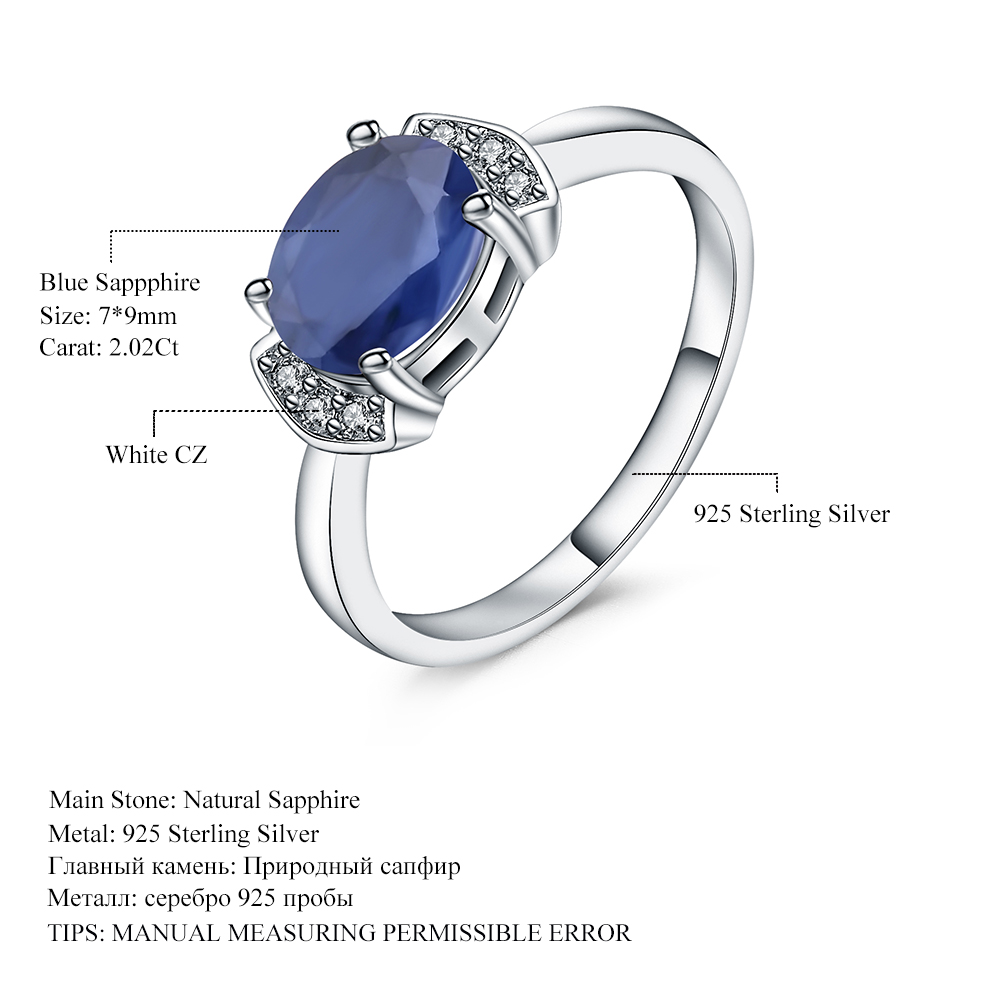 e3e474d810 GEM'S BALLET 925 Sterling Silver Ring 2.02Ct Classic Natural Blue Sapphire  Rings For Women Engagement Wedding Gift Fine Jewelry