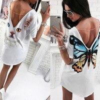 2018 mutterschaft Kleider Vintage Top Kleid Frauen Sommer Beiläufige Lose T Kurzarm Backless Sexy Schmetterling Katzen Animal Print Ts