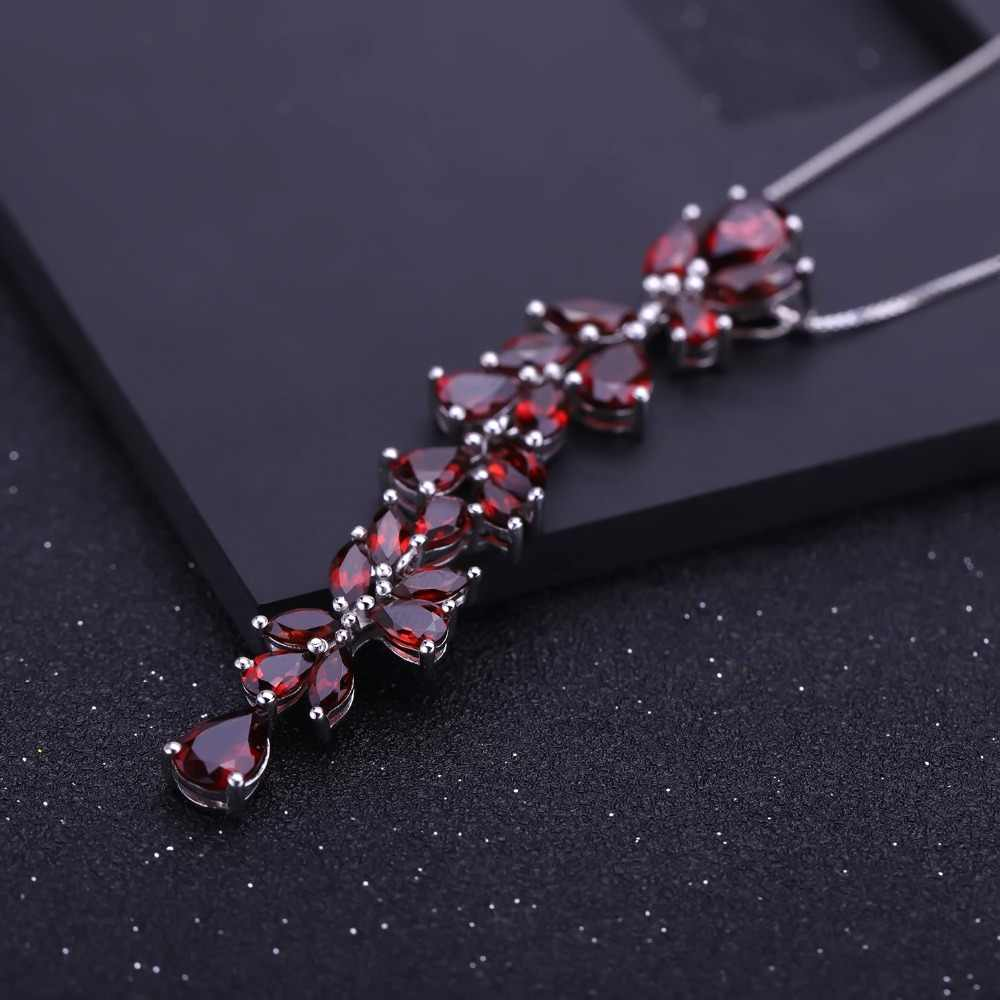 GEM'S BALLET 14.65Ct Natural Red Garnet 925 Sterling Sliver Folhas & Ramos Pingente Colar Para Mulheres Engagement Fine Jewelry