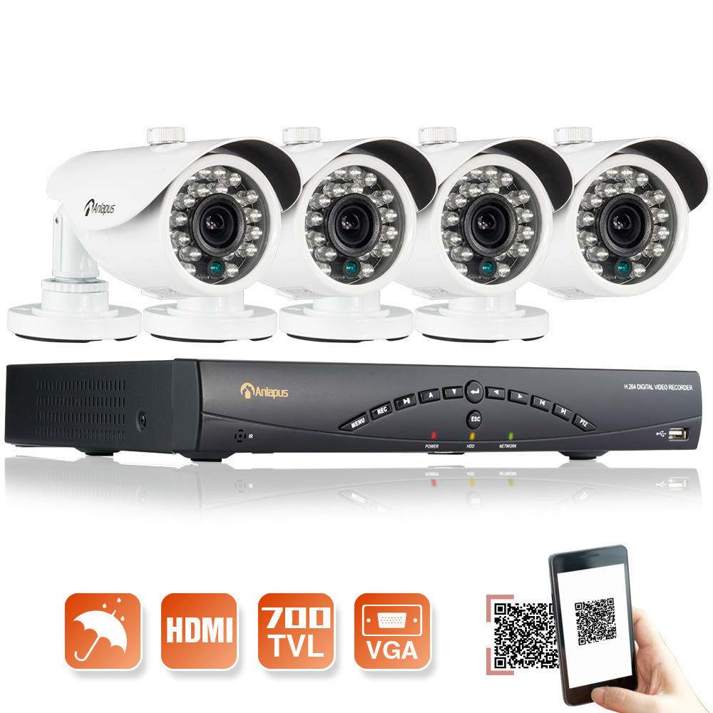 Outdoor HD 700TVL 4CH 960H HDMI CCTV DVR CCTV Home Security Video Camera System