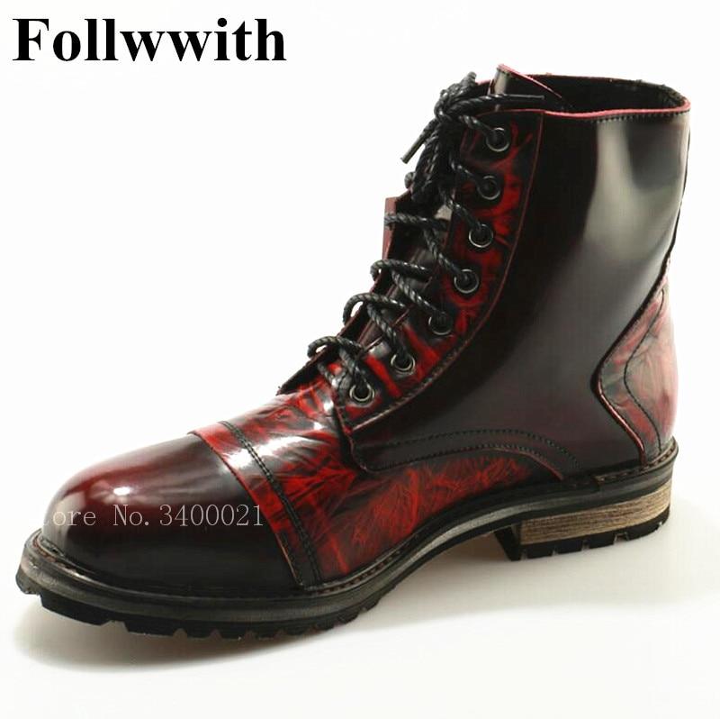 2018 Hot Sales Follwwith Western Cowboy Patchwork Round Toe Flats Ankle Top Qulaity Lace Up Men Boots Cool Men Shoes 2015 qulaity mardrid 14 15 3 men