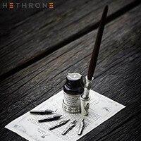 Hethrone Quill english Old fashioned Handmade Wood Dip Pen Writing Calligrap Wood Stem Pen Set Vintage gift ink Dip pen