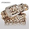 IFENDEI Correia Da Forma Das Mulheres PU Couro Diamante Decoração Cintura Cintos Femininos Strass Preto Selvagem Sexy Leopardo Cinto Para Calças de Brim
