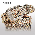 IFENDEI Fashion Belt Women PU Leather Diamond Sexy Leopard Decoration Belts Female Rhinestone Black Waist Wild Belt For Jeans