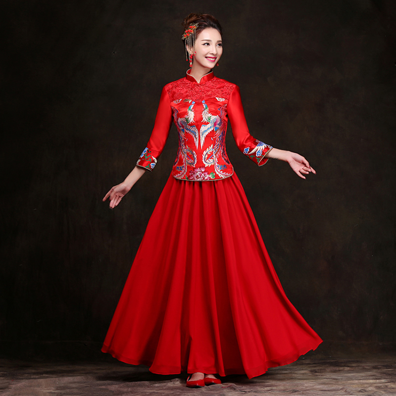 Traditional Wedding Gowns With Long Sleeves: Winter Add Cotton Red Bride Wedding Qipao Chinese