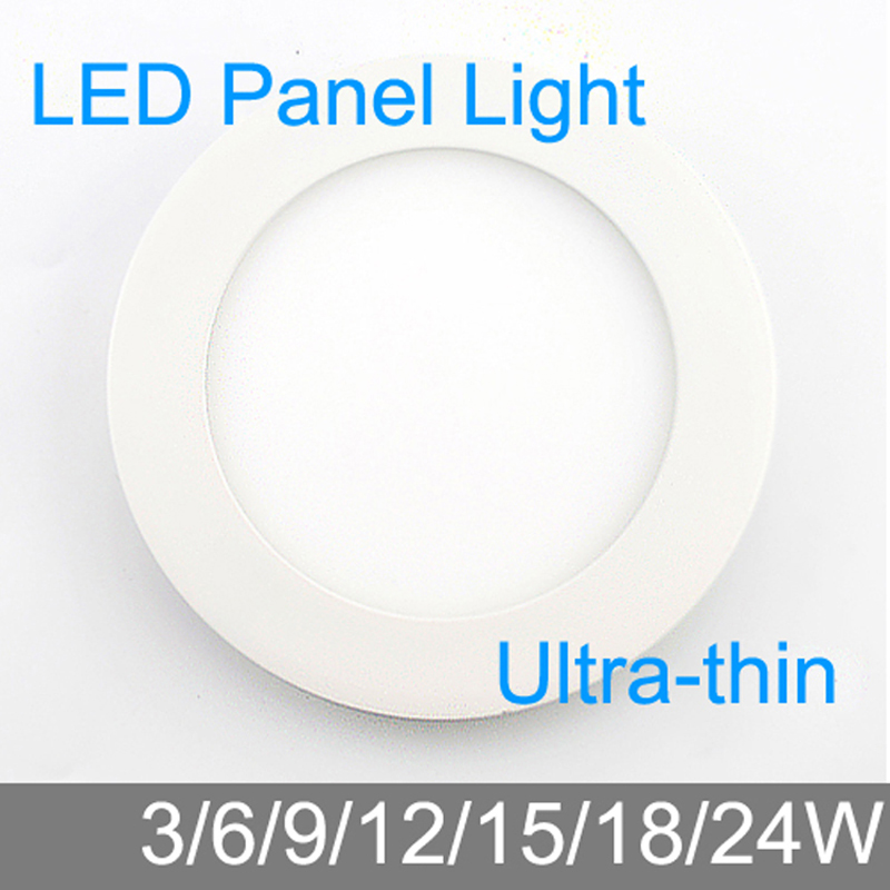 Ultra Thin Design 3W/6W/9W/12W/15W/18W/24W LED Ceiling Recessed Grid Downlight/ Slim Round Panel Light / LED Light Free Shipping