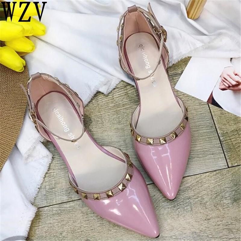 Planos Remache blanco Cuero De Ballet 2019 Baja Zapatos Punta W628 Sexy Gladiador Las rojo gris Negro Único Mujer rosado Mujeres EqwzWfp8