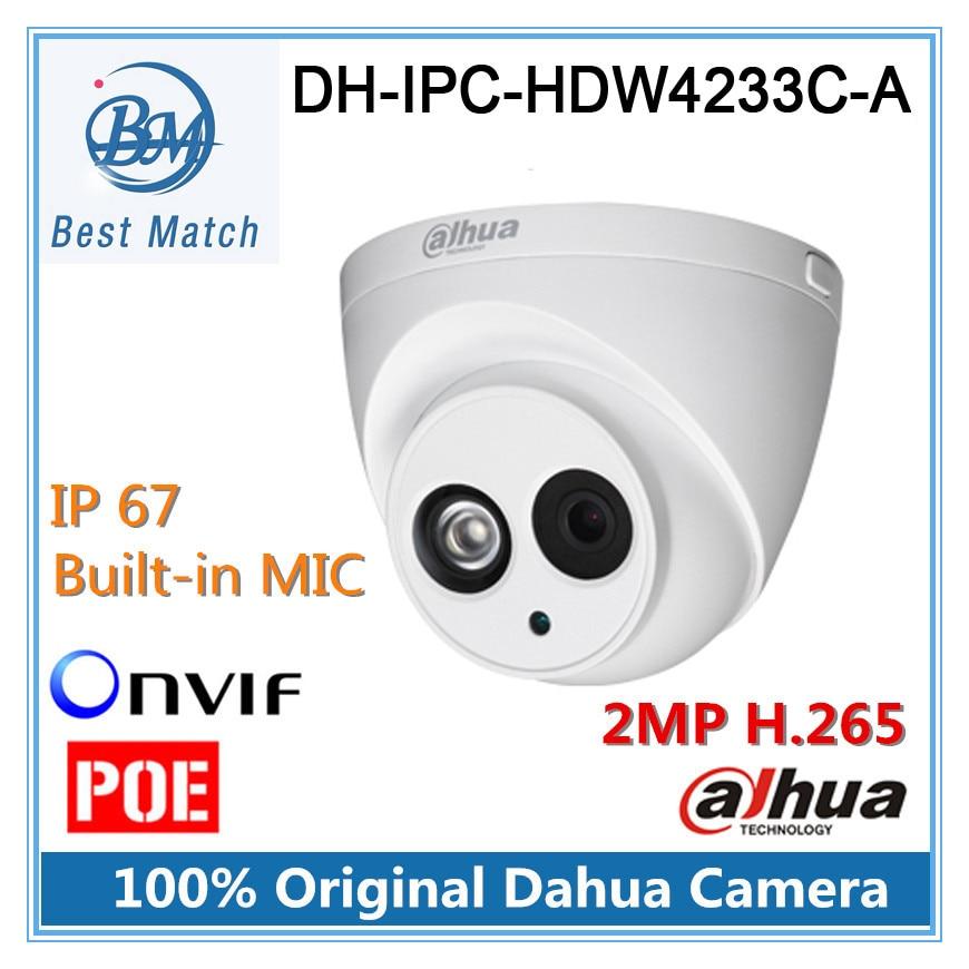 imágenes para H.265 ip 2mp dahua cámara dh-ipc-hdw4233c-a full hd 1920*1080 cámara de red con audio ipc-hdw4233c-a