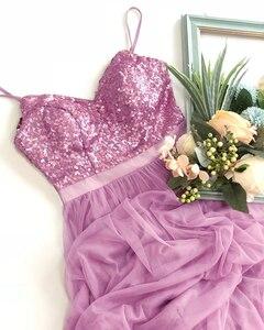 Image 5 - ארוך השושבינות שמלות אי פעם די EP07392 אלגנטי קו V צוואר טול מסיבת חתונת שמלות פאייטים Vestidos דה Damas De כבוד
