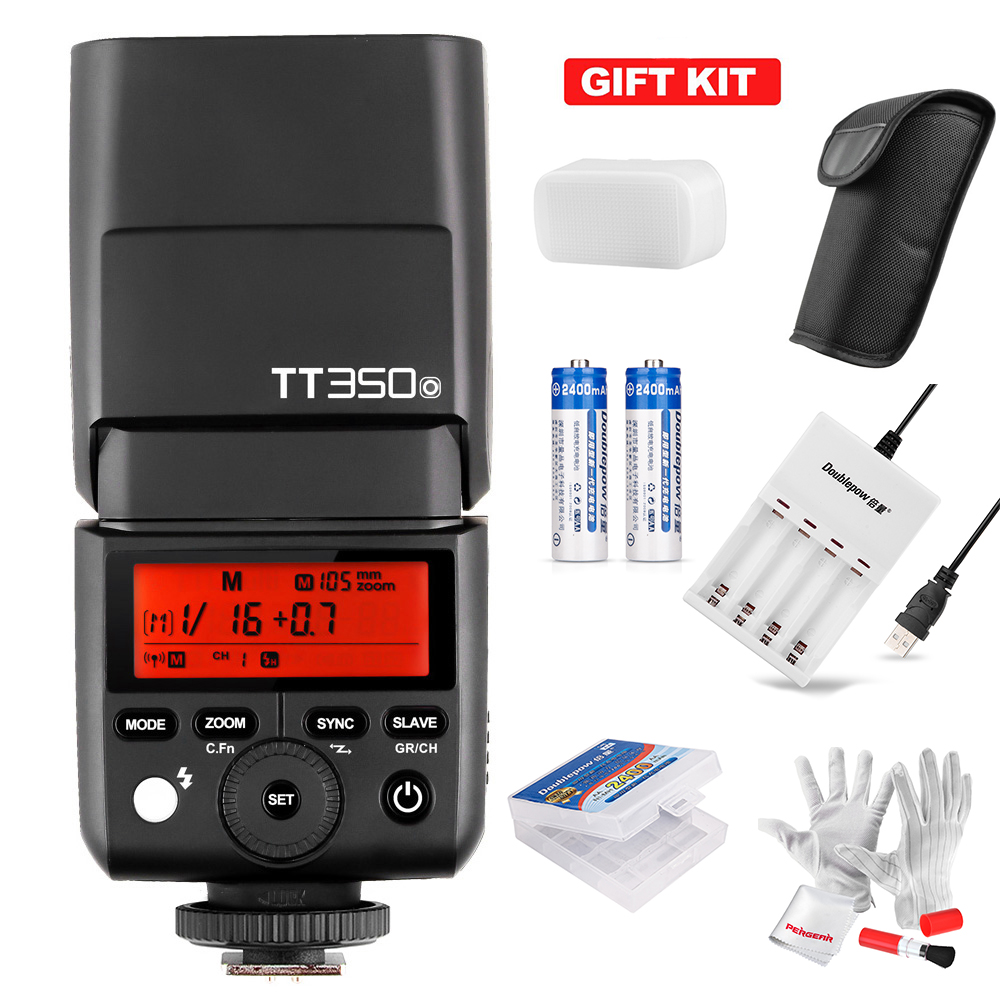Godox TT350O Mini Speedlite Camera Flash with Battery and Charger TTL HSS GN36 1/8000S for Olympus/Panasonic Mirrorless DSLR 3pcs battery and european regulation charger with 1 cable 3 line for mjx b3 helicopter 7 4v 1800mah 25c aircraft parts