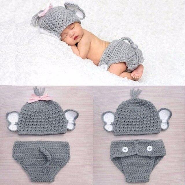 Puseky ganchillo bebé elefante traje de punto del bebé del sombrero ...