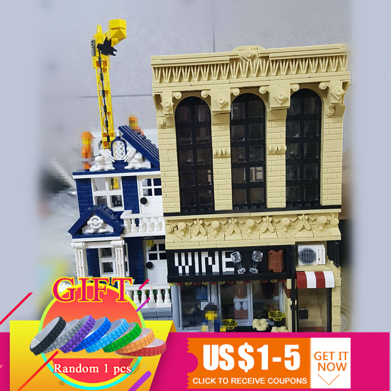 15035 2841Pcs City Street MOC Series The Bars and Financial Companies Set Educational Building Blocks Bricks Toys loz mini diamond block world famous architecture financial center swfc shangha china city nanoblock model brick educational toys
