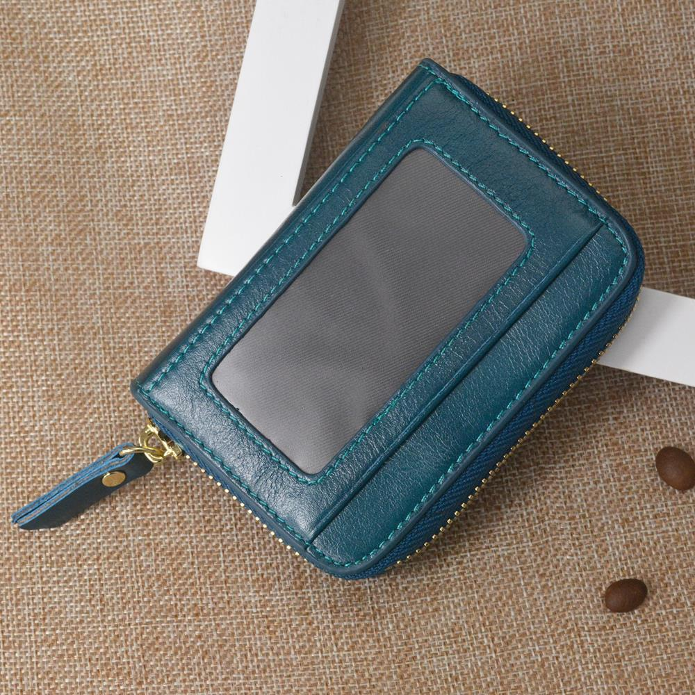 RFID Head Layer Genuine Cow Leather Unisex Business Card Holder Wallet Men Women Bank Credit Card Case ID Holders Purse