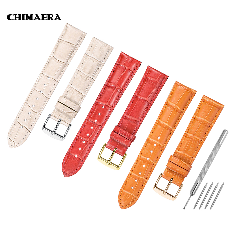 CHIMAERA 14mm 16mm 18mm 20mm 22mm Women Watch Band Strap Orange Red Beige Genuine Calf Leather Lady Watch Strap for Hours Girl 16mm buckle14mm t099 for women red genuine leather coat of paint watch bands strap