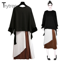 Trytree Women Autumn two piece set Casual Fashion tops + skirt Flare Sleeve Top Elastic Waist Pleated skirt Suit Set 2 Piece Set