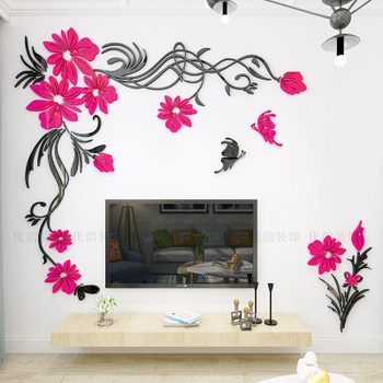 Creative flower 3D stereo acrylic wall sticker background warm decoration Large Size Mural Home Decor Living Room Wall Decals 12