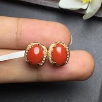 Fine Jewelry Real 18k Rose Gold AU750 100% Nature Italy Origin unique precious Coral Female Earrings Fine Gift women earring