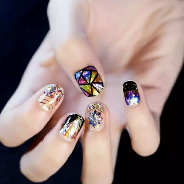 Black Polish Nail Design Sticker Colorful Abralone Shiny Nail ...