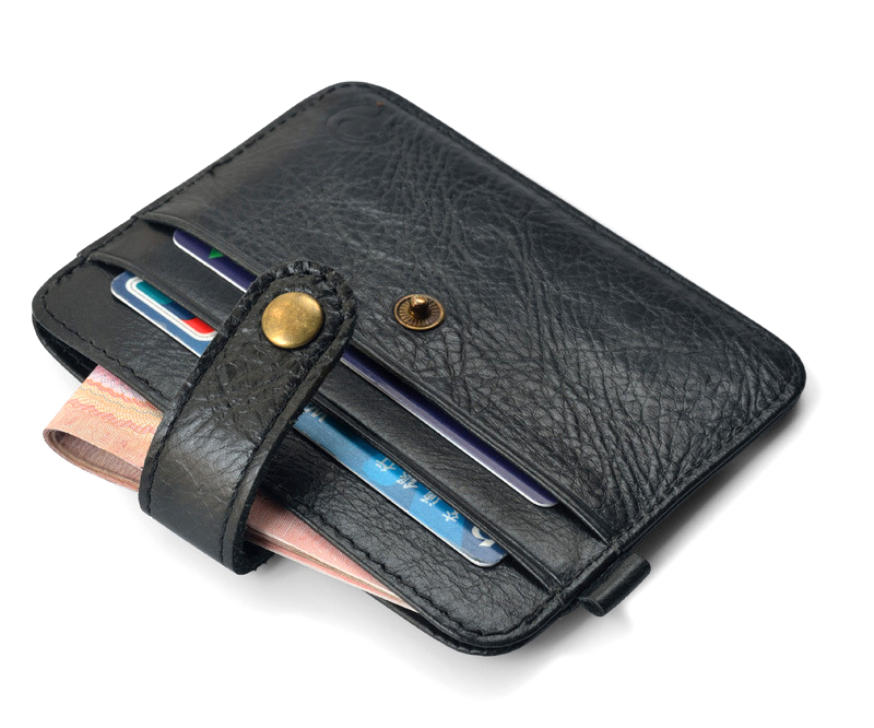 Fashion Genuine Leather Credit Card Holders Hasp Design Cards Wallets Ultra Thin Women Men's Clutch Coin Money Bags