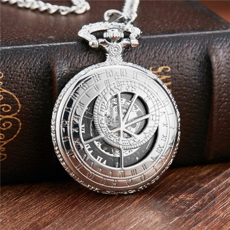 Grave do Reino Relógios para dos Homens para Mulheres Mecânica Pocket Fob Cadeia Sliver Relógio Oco Unido Homens Mão-vento Dr. Who Ver