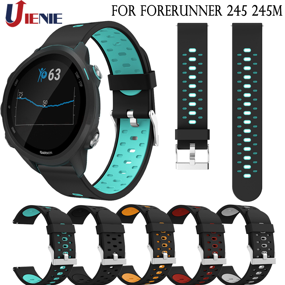 20mm Silicone Watch Band Strap Bracelet For Garmin Forerunner 245 245M 645 Smart Watchband Sport Replacement Wristband Correa