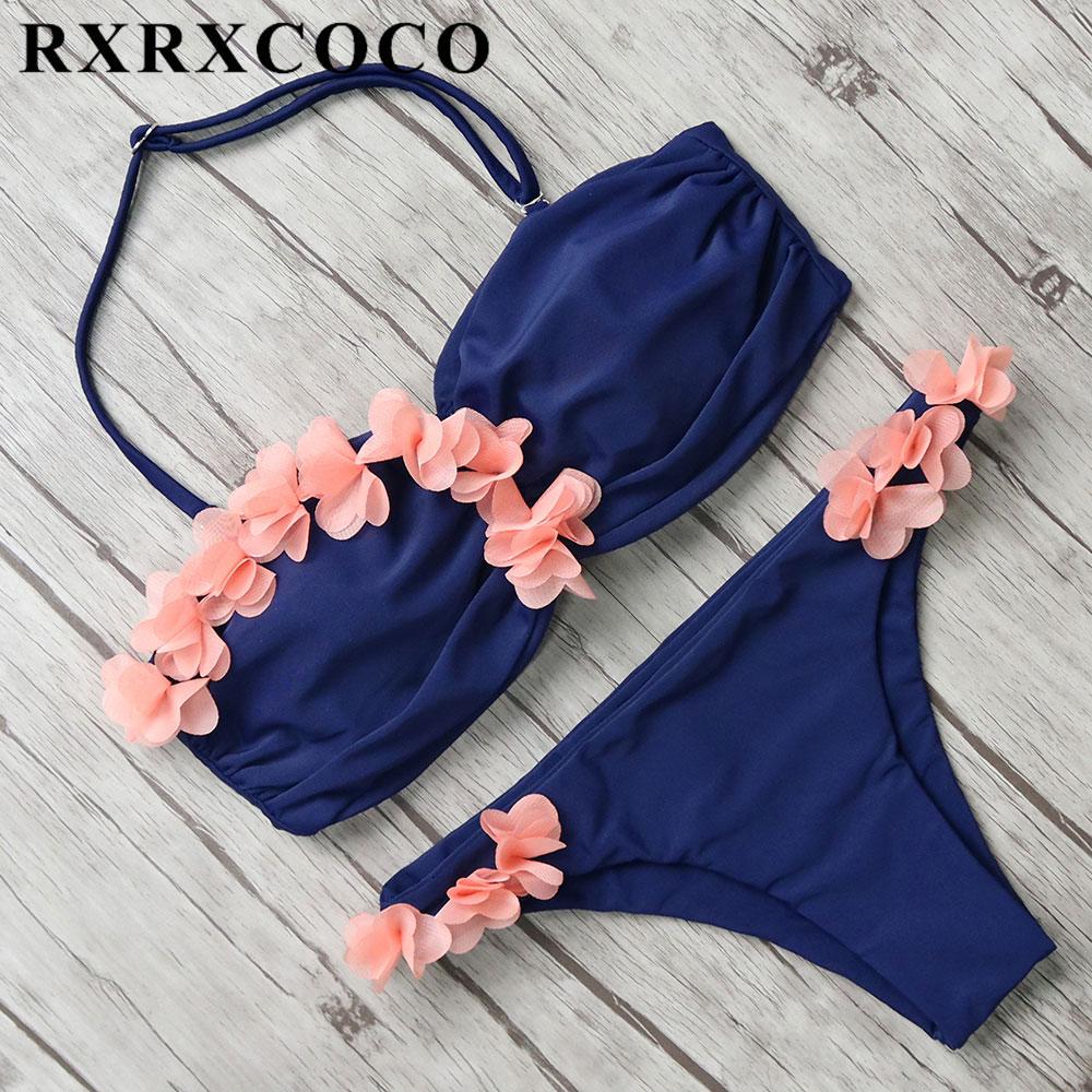 RXRXCOCO Sexy Flower Bikini Low Waist Swimwear Women Halter Bathing Suit Solid 2 Color Bikini Set Summer Beach Swimsuit