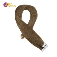 Moresoo Mini Tape in Hair Extensions Remy Tape Human Hair Extensions #10 Gold Brown Real Tape in Hair Extensions 10pcs 20g