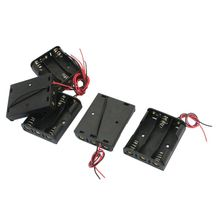 5 pieces spring loaded plastic 3 x 1.5V AA battery holder box black