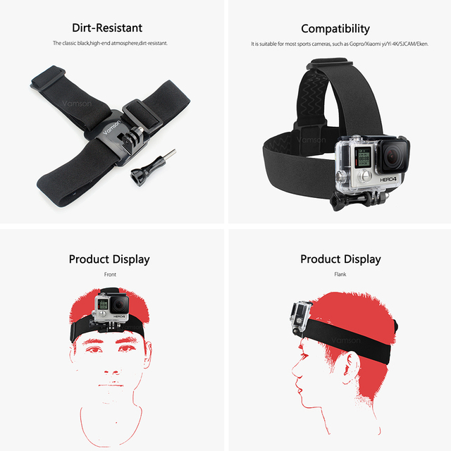 Vamson for Gopro Hero 7 5 4 4session Accessories Set Head Strap Chest Strap Suction Cup For Xiaomi for Yi 4 K for EKEN H9R VS69
