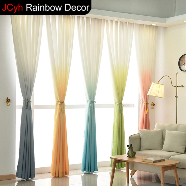 Modern Tulle Curtains For Living Room Blinds Green Voile Curtain For Small Window  Valance Drapes Short