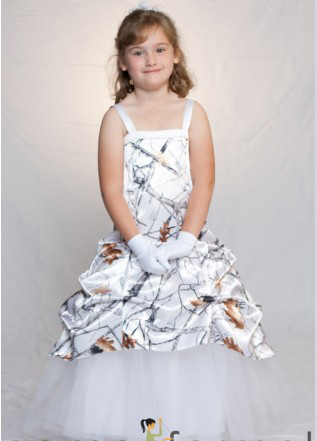 girls   kids pageant gowns camouflage long true timber white camo   flower     girl     dresses