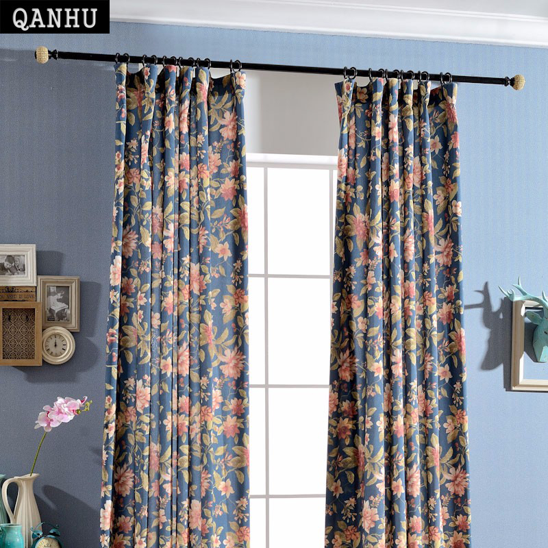 QANHU Chinese Rural Style Blackout Curtains for Bedroom Polyester/Cotton Comfortable Curtains Set for the Living Room A-5