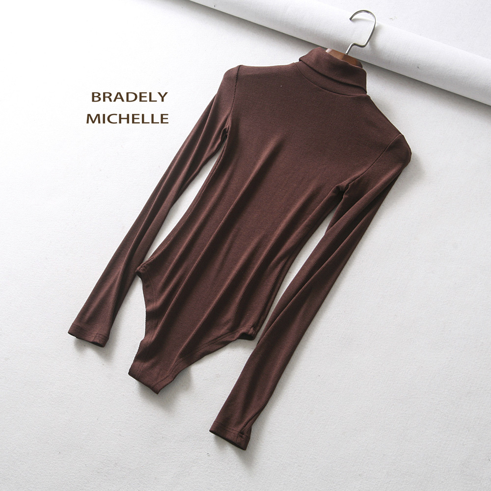 HTB1U7GpXcvrK1Rjy0Feq6ATmVXaQ - BRADELY MICHELLE autumn casual high-neck long-sleeve knitted bodysuits women new fashion solid  jumpsuits