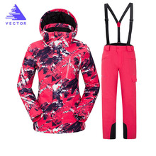 Ski Suit Women Warm Waterproof Skiing Suits Set Ladies Outdoor Sport Winter Coats Snowboard Snow Jackets and Pants 2018 new lover men and women windproof waterproof thermal male snow pants sets skiing and snowboarding ski suit men jackets