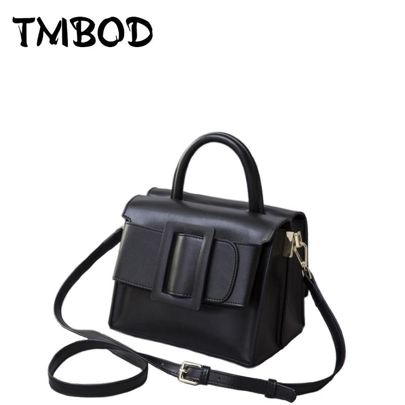 все цены на New 2018 Brand Fashion Buckle Design Classic Tote Women Split Leather Handbags For Female Messenger Bags Lady Bag an508