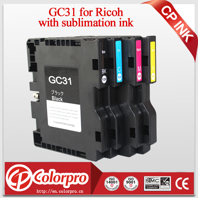 4PK compatible ink cartridge for Ricoh GC31 for Ricoh e2600 e3300 e3300N e3350N e5050N e5500 e5550N e7700 with sublimation ink