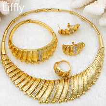 2019 New Fashion Dubai Bridal Wedding Jewelry Sets Italy Women Party 24 Gold Jewelry Charm Crystal Necklace Set Dress Design(China)