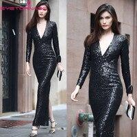 2018 Women bling sexy bodycon party dress V neck long sleeve sequined formal black fashion maxi Ball club dresses vestido