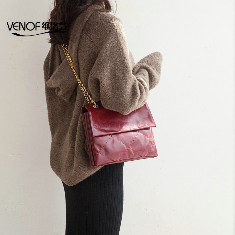 VENOF Fashion real leather Women shoulder bags Wax oil skin chain envelope bag ladies leather crossbody Bag female messenger bagVENOF Fashion real leather Women shoulder bags Wax oil skin chain envelope bag ladies leather crossbody Bag female messenger bag
